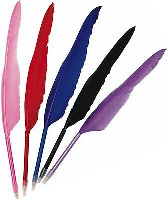 New Genuine Feather Quill Ball Point Pen Black Purple Pink Blue Red Or Set Of 5