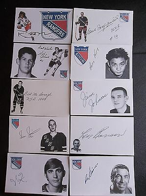 New York Rangers 10 Autographed 3x5 Index Cards Lot A