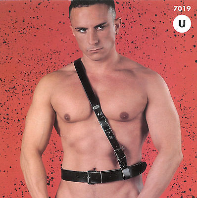 EROS VENEZIANI  Leder Herren Riemen Body Harness S/M Leather Schultergurt Chest • EUR 129,90