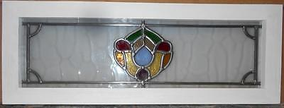 "MID SIZED OLD ENGLISH LEADED STAINED GLASS WINDOW Pretty Abstract 8"" x 24.5"""