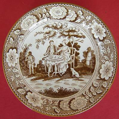 Pearlware Saucer Tea Party Pattern c1820