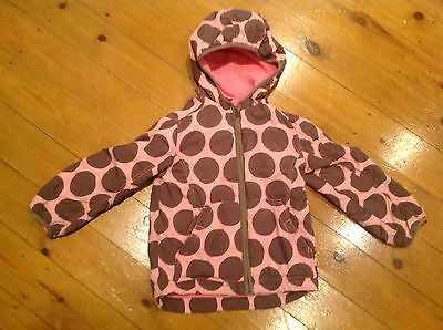 Girls MINI BODEN Pink and brown spot hooded coat age 5-6 yrs