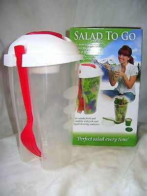 New Salad To Go Lunch Box, Travel Tub With Fork & Salad Dressing Container Red