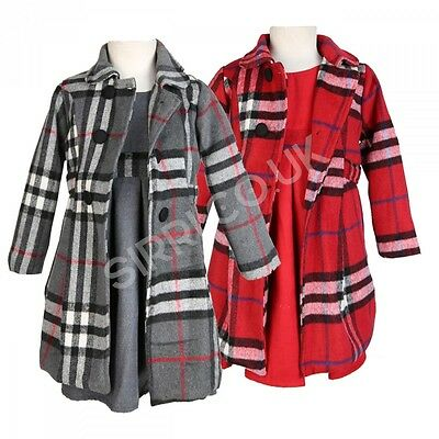 3PC Girls Winter Coat Dress and Hat Girls Grey and Red Formal Coats Dress Set • EUR 32,82