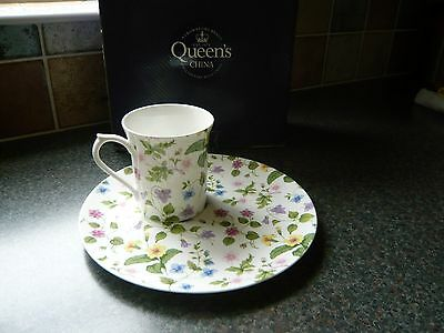 Queen's China TV Tray and Mug in Country Meadow Pattern