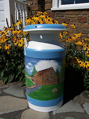 Antique Vtg. Milk Can Hand Painted Country Scene Plant Stand Table Blue & White