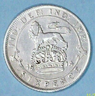 Great Britain 6 Pence 1914 Very Fine Plus  0.9250 Silver Coin