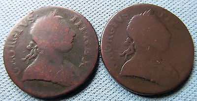 Lot of 2 King George III British US Colonial Old Halfpenny Coppers 1771 & 1772