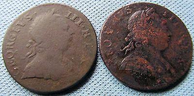 Lot of 2 King George III British US Colonial Old Halfpenny Coppers 1773 & 1774