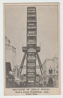 Earls Court Exhibition Price's Candles advertising postcard Great Wheel Souvenir