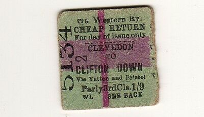 Railway ticket GWR Parly Clifton Down - Clevedon 1894