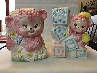 Vintage Napcoware Bear w/Bottle and Relpo Bear w/Blocks Ceramic Baby Planters