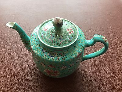Vintage Chinese Famille Verde Teapot Floral Decoration Chinese Character Marks