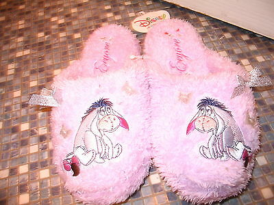 Disney Store Eeyore Ladies Lilac Embroidered Slippers Size 3/4 New Very Rare