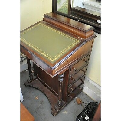 Antique Leather Topped Davenport Desk