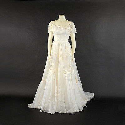 Vintage 60s Sheer White Cream Nylon Chiffon Floral Lace Sequin Wedding Dress S M