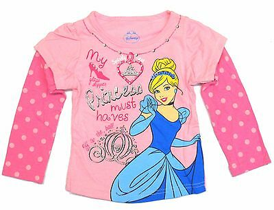 Disney Princess Cinderella Long Sleeve T-Shirt Top Pink Polka Toddler Girl 2T-4T