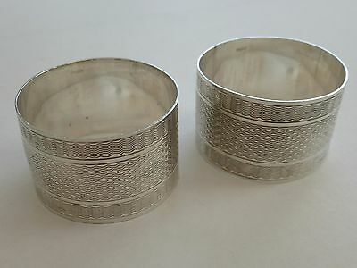 *x2 VINTAGE SOLID STERLING SILVER ART DECO STYLE 51.6g NAPKIN RING*