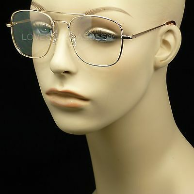 Clear lens aviator sun glasses frames metal retro vintage style square new
