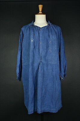 VTG French 1900 linen indigo biaude smock workwear medium hobo maquignon blouse