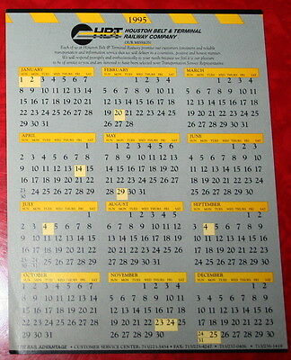 "1995 HOUSTON & BELT & TERMINAL RAILWAY HB&T CALENDAR 6"" x 7.5"""