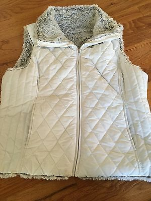 Womens Vest, Quilted, Faux Fur White XL, Ski or Dress