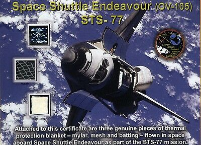 STS-77 Space Shuttle Endeavour - 3 Flown Artifacts on a Beautiful Certificate