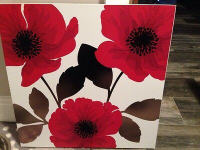 Next White Red And Black Poppy Flower Canvas Picture Wall Art