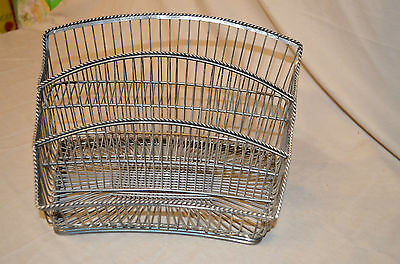 Silver Plated Wire Metal Condiment Caddy Napkin Holder Tray Utensils Server