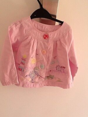 Next girls Gorgeous cotton jacket in pink lighthouse, Seaside,Sandcastle  sz 2-3