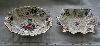 TWO Vintage Floral Chintz Trinket Dishes or Pin Trays -  Midwinter James Kent