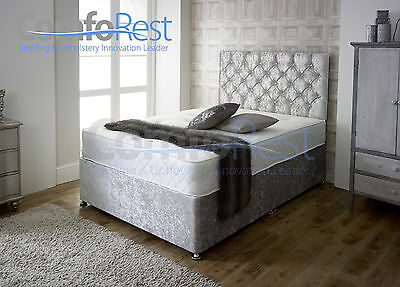 "Ibex Crushed Velvet Divan Bed + Memory Mattress + 24"" Hieght Headboard"