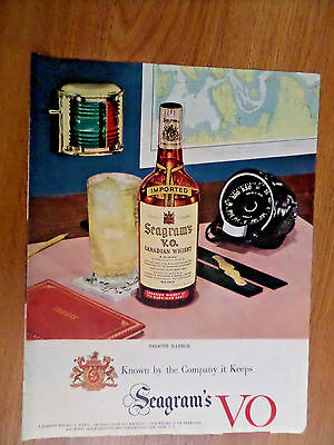 1952  Seagram's VO Whiskey Ad Smooth Harbor Boating Yatching Sailing Theme
