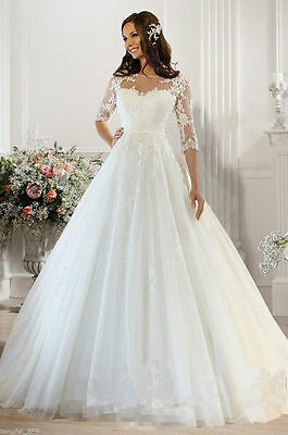 New White/Ivory Lace Bridal Gown Wedding Dress Custom Size:6/8/10/12/14/16+++