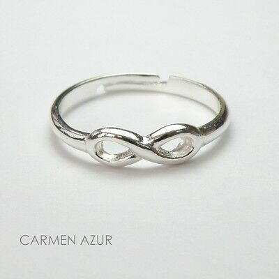 Solid 925 Sterling Silver Toe Ring, Infinity Design Ladies New inc Gift Bag