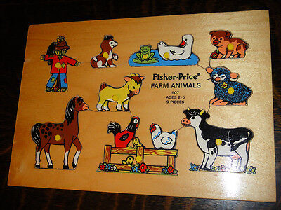 Vintage Fisher-Price 1973 Farm Animals #507 Wood Puzzle Holland 9 Piece wooden