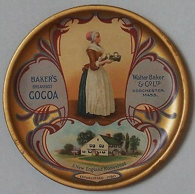 Beautiful Large Early 1900's Bakers Cocoa Advertising Tip Tray Near Mint