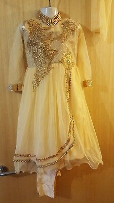 New Indian asian anarkali salwar kameez golden size 18,22 for girls eid
