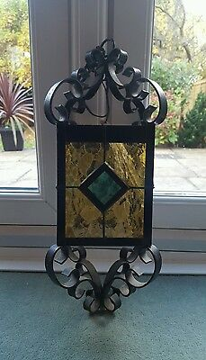 Lovely Original Old French Stained Amber Glass Wrough Iron Hall / Porch Lantern