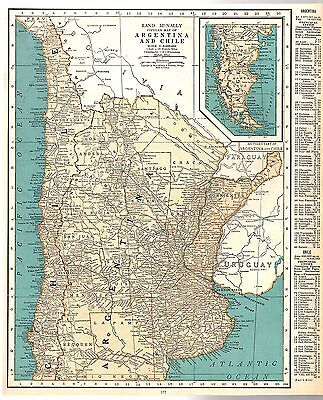 Rand McNally 1937 Vintage Popular Frameable Map of Bolivia/ Argentina & Chile