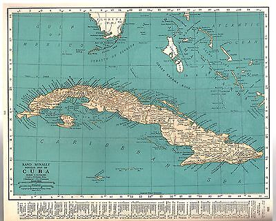 Rand McNally 1937 Vintage Frameable Color Popular Map of South America/ Cuba