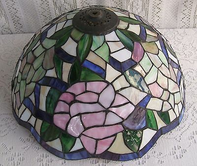 **** Vintage Tiffany Style Stained Glass Floral Lamp Shade #17*****