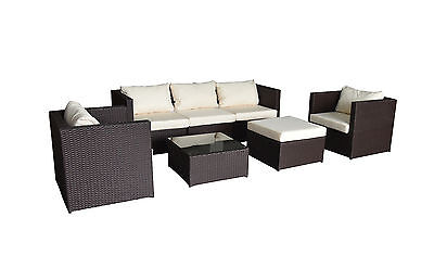 6 Seater  Rattan Garden Furniture Sofa Dining Table Set Conservatory Outdoor