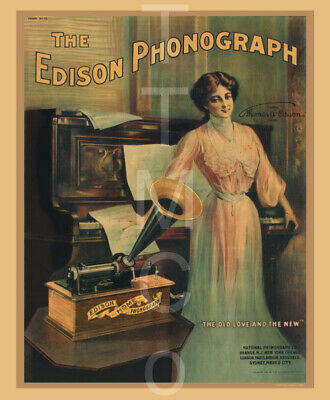 """14"""" X 17"""" Reproduced Edison Cylinder Phonograph Canvas Banner"""