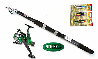 Mitchell Catch 6ft Tele Spin Rod 4-15g & Sol Reel combo with 3 Lure/plugs