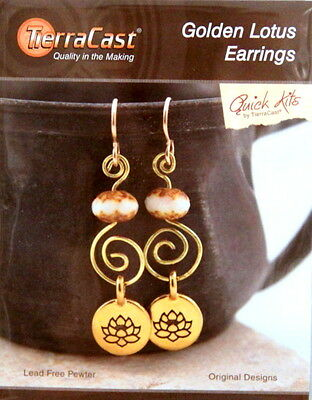 TierraCast, Golden Lotus Earrings Kit, DO IT YOURSELF KIT