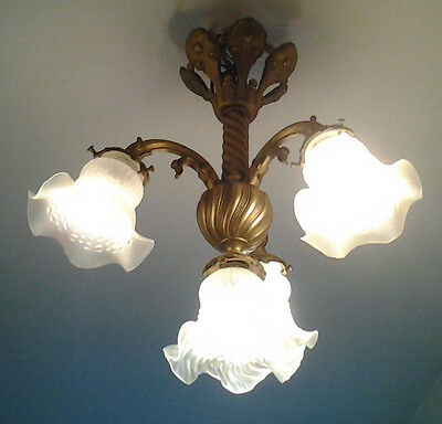 Antique french rococo baroque brass & glass chandelier ceiling light 3 arms