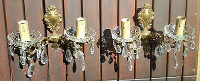 Vintage Pair of Ornate Gilt brass and glass drops wall lights made in Italy