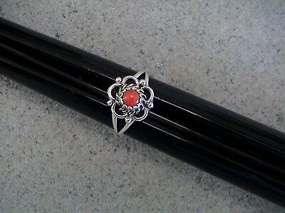 Auth.Native American Indian Sterling Silver/ Red Coral Ring