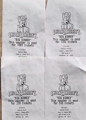 Lot of 3155 Chuck E Cheese Ticket Vouchers FREE SHIPPING
